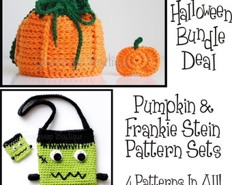PDF BUNDLE Crochet Patterns Pumpkin and Frankie Stein Purse and Hair Clips