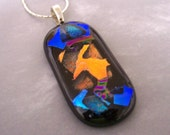 Black Mosaic Fused Glass Pendant with Dichroic