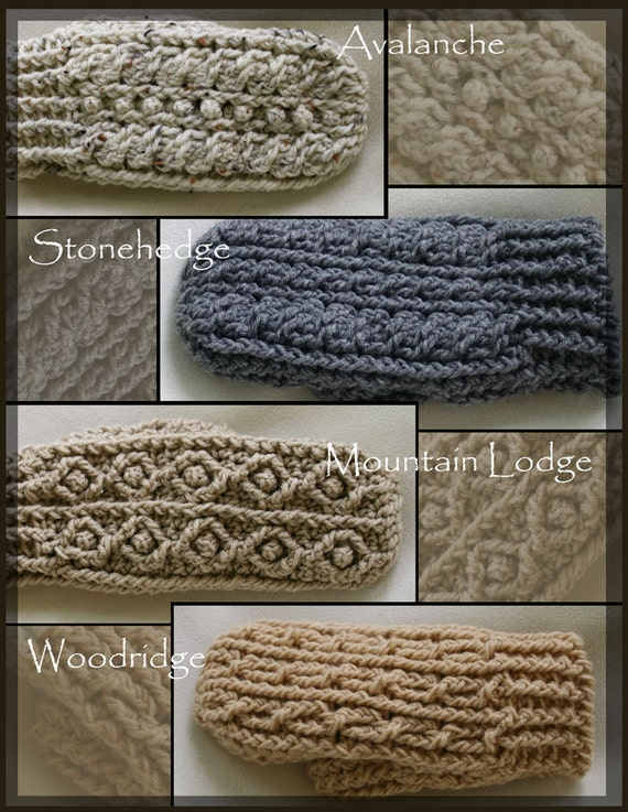 Rugged Mountain Mittens Collection Crochet Pattern Patterns for Men