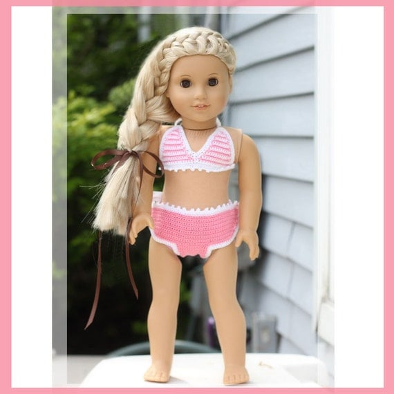 Peppermint Bikini Crochet Pattern for 18 inch Dolls and American Girl Doll