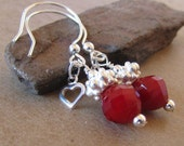 Red Earrings Hearts Sterling Silver Dangle Valentine