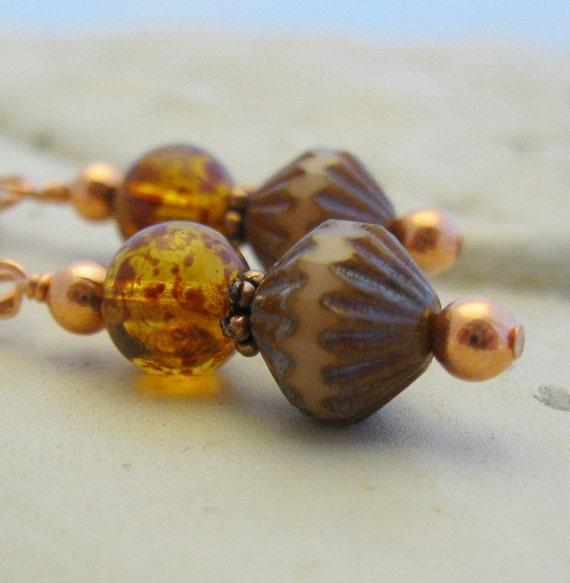 Brown Topaz Glass Earrings Copper