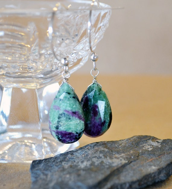 Ruby Zoisite Sterling Silver Earrings Faceted Tear Drops Red Green