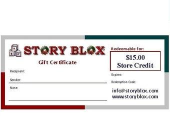 Gift Certificate - Store Credit - 15 Dollars