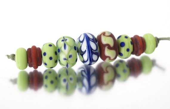 Chocolate limes. A set of handmade lampwork beads SRA