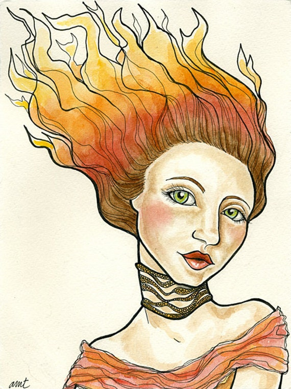 Watercolor and Ink - Original art by Adrienne Trafford - Girl on Fire 5x7