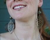 Green Cloisonne Versatile Bronze Leaf Earrings