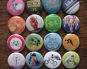 Bicycle-themed 1 inch buttons - set of 16