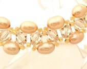 Champagne Pearl and Crystal Bracelet