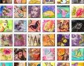 ONE INCH SQUARES no.1 - Instant download Digital Collage Sheet for journals art scrapbooking