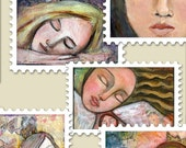 POSTAGE STAMPS 2 - Digital Collage Sheet for journals aceo atc jewelry making art scrapbooking