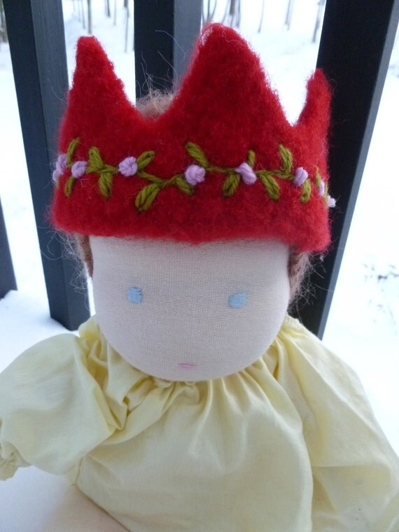 Felted wool crown for doll SALE
