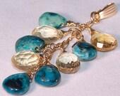Genuine Citrine and Turquoise Briolette Pendant