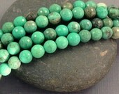 Gemstone beads - Semiprecious stone beads-  green grass agate 6mm round micro faceted