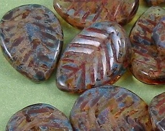 Czech glass beads, glass pressed leave beads brown top drilled 8