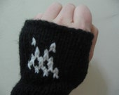 Space Invaders handcuff wrist fingerless gloves
