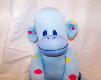 Blue Polka Dot Sock Monkey Baby Safer Button Free