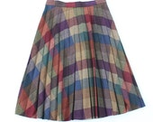 vintage 1970's ART COLLECTOR wool plaid skirt