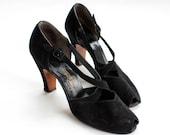 vintage 1940's ONYX cross strap suede peep toe heels