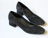 vintage 90's DARK FLOWER embroidered suede slip on heels
