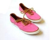 vintage 1980's NEON PINK jantzen canvas leather sneaker shoes