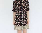 vintage 90's semi sheer ROSE PETAL floral flower print shirt