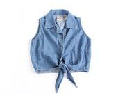 vintage 90's denim summer CROP TOP tie shirt blouse