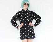 vintage 1980's rayon FULL MOON polka dot collared button down shirt