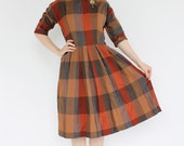 vintage 1950's juniors HARVEST PLAID brass chain wool dress