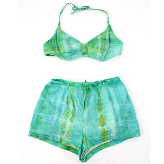 vintage 1950 s mermaid tie dye cotton swimsuit