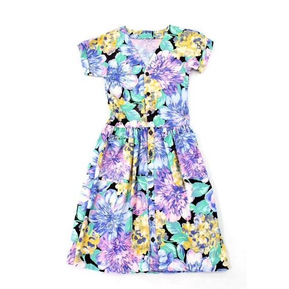 vintage 1980's FLORAL WATERCOLOR dress