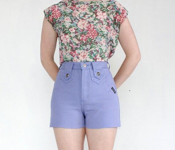 vintage 90's PALE LILAC high waist denim cut off shorts