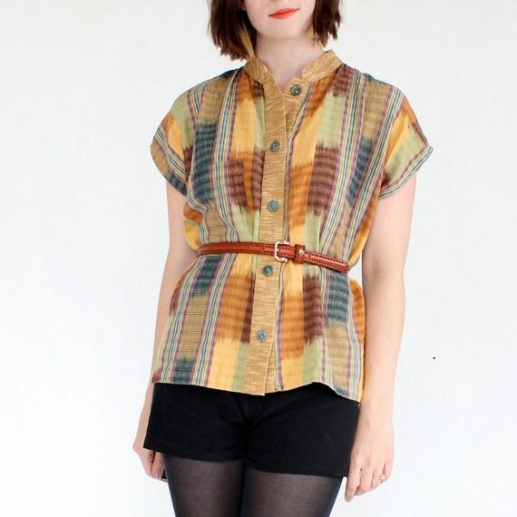 vintage 1980's blouse HARVEST IKAT soft cotton shirt