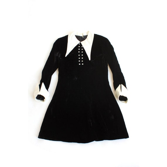 Vintage 1960 S Wednesday Addams Velvet Satin Mini Dress
