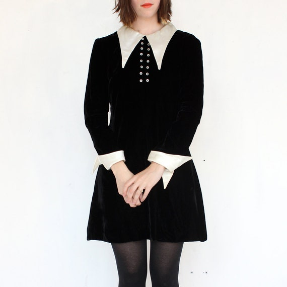 vintage 1960's WEDNESDAY ADDAMS velvet satin mini dress