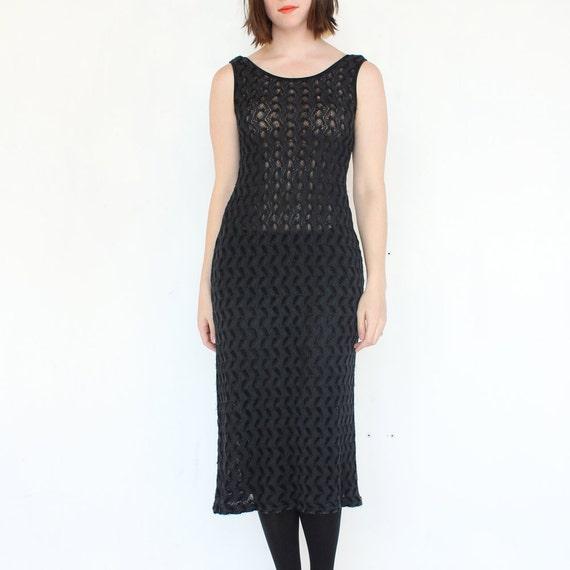 vintage 90's SHEER MAXI navy black soft stretch long dress