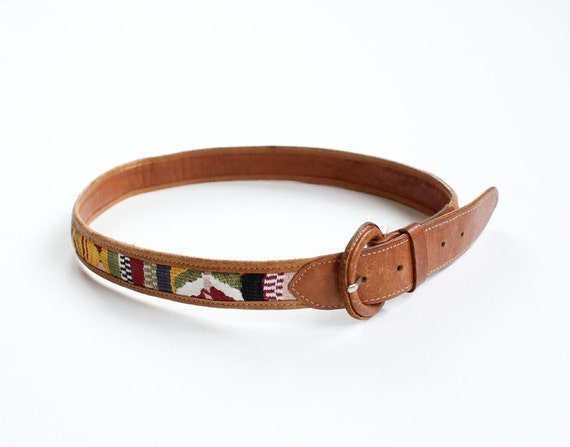 vintage 1980's WILD EMBROIDERY leather belt
