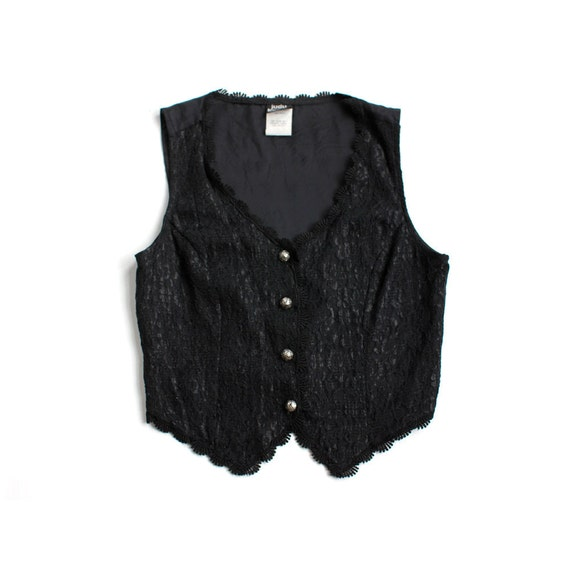 vintage 1980's MIDNIGHT LACE black fitted vest