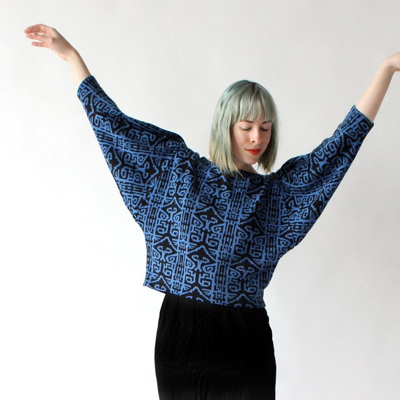 vintage 1980's COBALT BATWING geometric print cropped sweater