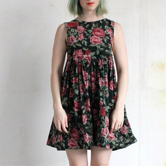 vintage 90's ROSE GARDEN babydoll corduroy jumper dress