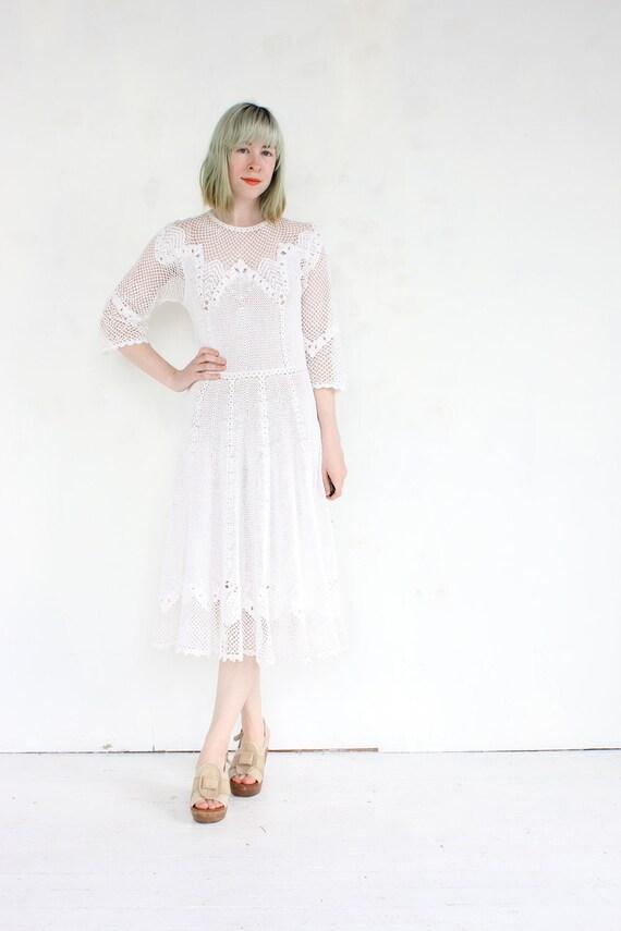 vintage 1930's crochet IVORY PETAL sheer floral wedding dress