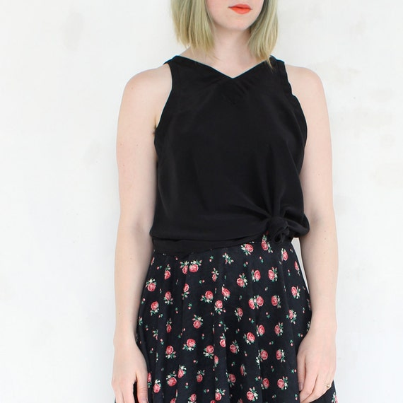 vintage 90's unique MIDNIGHT BLACK silk tank top blouse