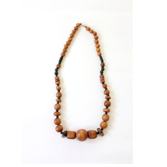 vintage 1970's wood bead necklace GEOMETRIC wooden jewelry