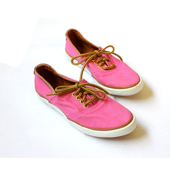 vintage 1980's NEON PINK jantzen canvas leather sneaker shoes