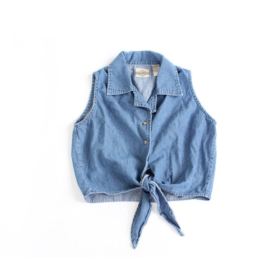 vintage 90's denim summer CROP TOP tie shirt blouse