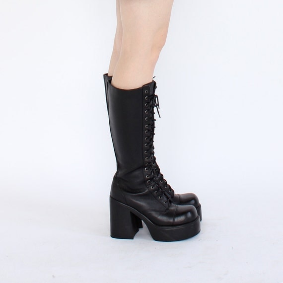 vintage 90's club goth PLATFORM LEATHER lace up knee high boots