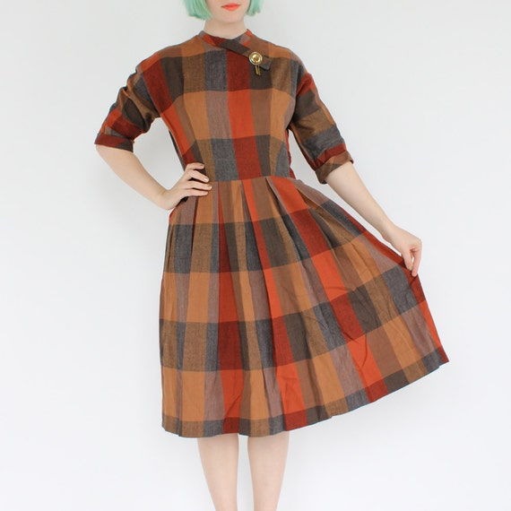 vintage 1950's juniors HARVEST PLAID brass chain wool dress