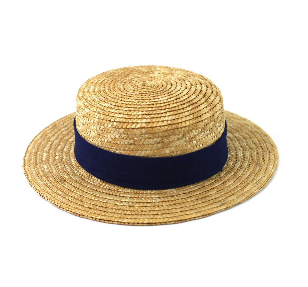 Boater straw natural Boater straw hat, summer hat, beach hat, made of natural straw boater.