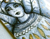 Original painting on paper - Indigo Angel ACEO - Crowned