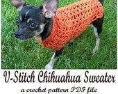 V-Stitch Chihuahua Sweater crochet pattern PDF file